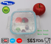 Square home appliances 2 compartments high borosilicate Divider glass food storage container/glass bento box with lid