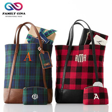 Wholesale Monogrammed 2 pieces Red and Green Plaid Totes