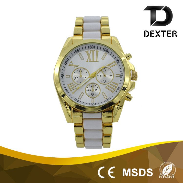 22mm wide alloy & plastic band elegance womens focus quartz watch