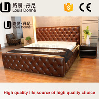 Modern soft luxury Italy leather bed bedroom furniture