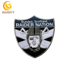 Free Sample No MOQ Custom Logo Patch Dundee Scotland Raider Nation Embroidery Patch With Iron On