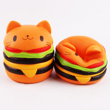 Kawaii Jumbo Cat Hamburger Cake Squeeze Squishy Slow Rising Stretchy Charm Cute Pendant Bread Kid Toy Gift Strap