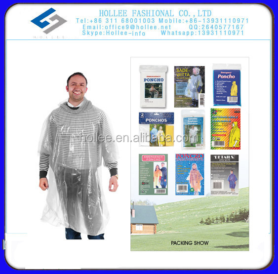 Pe 0.02mm blue disposable rain poncho