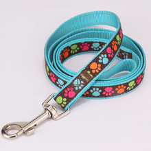 Amazon Top Seller Dog Collar Leash Set Nylon Foot Print for Small Medium Large Dogs