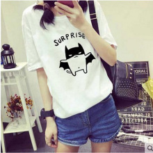 Wholesale summer new design ladies bat pattern short sleeve custom t shirt printing