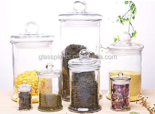 Glass Spice Jar with Glass Cover, 370ml