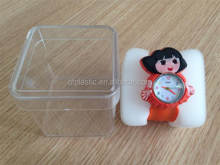 Plastic transparent watch gift case welcome to customize
