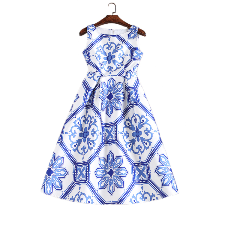 Women Elegant Vintage Retro Blue and White Porcelain Print Vest Dresses Sleeveless O-Neck Swing Midi Dress Vestido de Fiesta