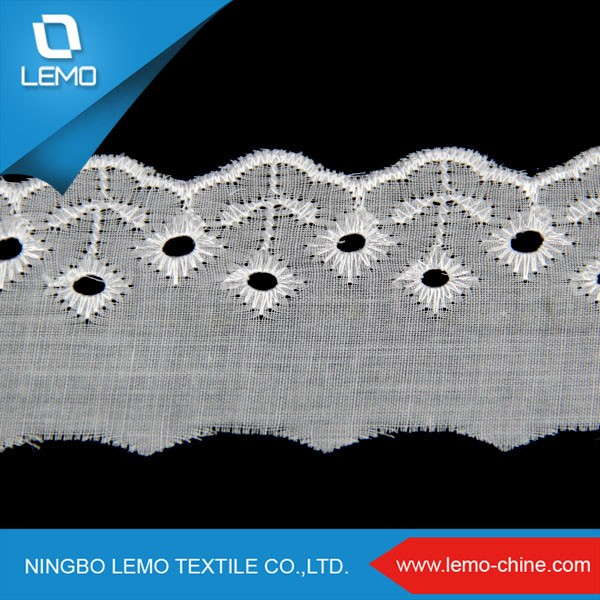 lemo Hot Sale Polyester Embrodiery Lace Trim, TC Lace