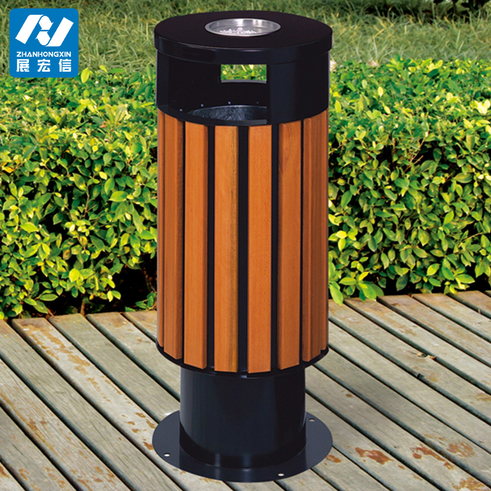 City Outdoor Wooden Trash Can,Rubbish Bin