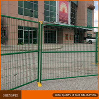 Green portable temporary metal fence panels