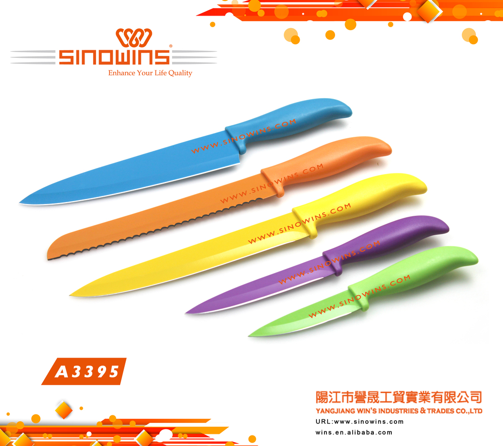 A3391 Hot sale High quality 6pcs colorful handle Kitchen knife set