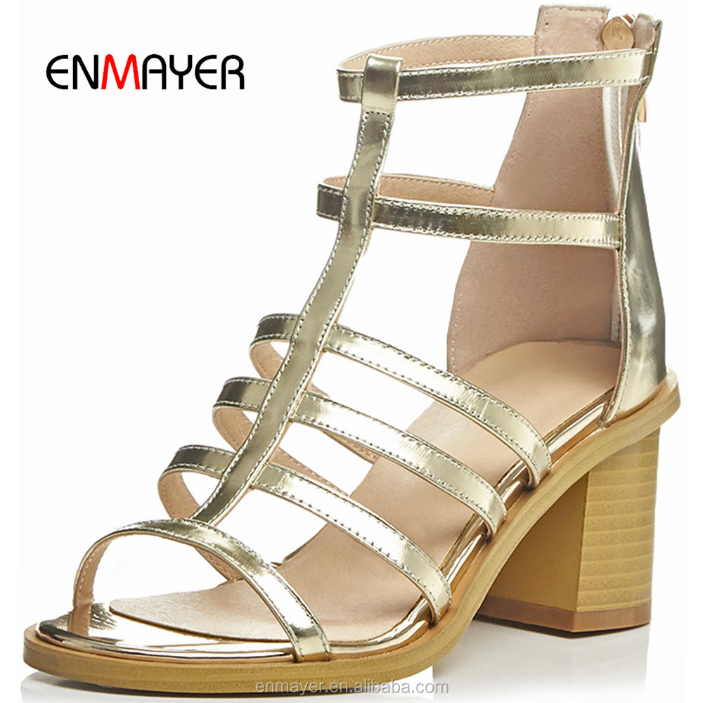 2016 summer sandals design fashionable Roman sandals gold cowhide leather Bohemia girls low heel sandals wholesale