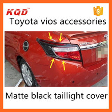 accessories toyota vios matte black tail lamp cover for toyota vios chrome tail/rear light cover toyota vios 2014 accessories