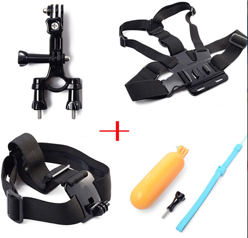 Accessories Mount 4 in Kit Bicycle Mount Holder + Head Strap + Chest Belt Head + Floating Grip For Gopros SJCAM