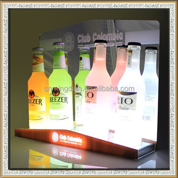 led acrylic wine bottle display pedestal,acrylic illuminated wine bottle pop display rack
