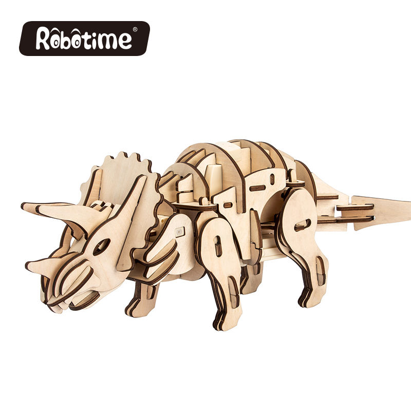 Robotic Walking Prehistoric Laser Triceratops 3D Wooden Jigsaw Puzzle
