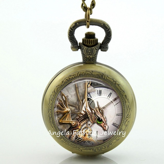 Vintage  Dragon Pocket Watch Vintage Necklace Pendant Steapunk Quartz Watch Dragon Necklace Pendant