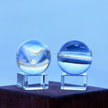 Factory outlet decorative clear solid crystal glass ball with light hole