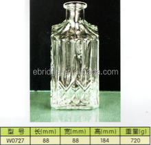 stripe glass whisky wine tequila bottle square clear glass bottle