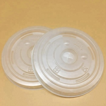 Cold drink lids, flat lids with straw slot, plastic lids for paper cups