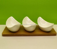 Ceramic white porcelain chip and dip dish set w/wooden tray (appetizer dish, tapas dish)