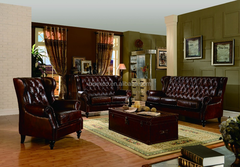 Bisini luxurious genuine leather living room sofa durable for Durable living room furniture