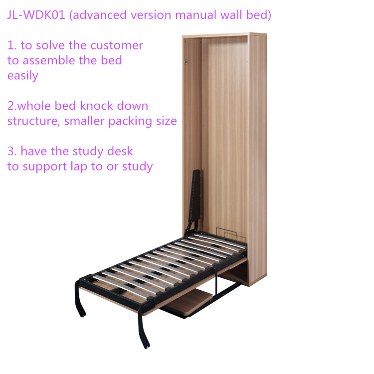 wall mounted murphy bed with slow down safe spring