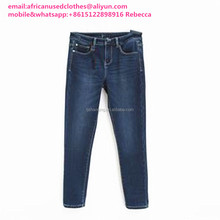 2017 year shinning exported used clothing/ used clothes/secondhand clothing lady skin jean pants sky-clearing blue color