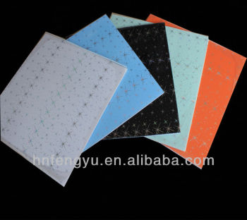 Building Material of Dubai PVC Ceiling Designs 595*595 PVC Wall Panel, Hot Stamping pvc ceiling
