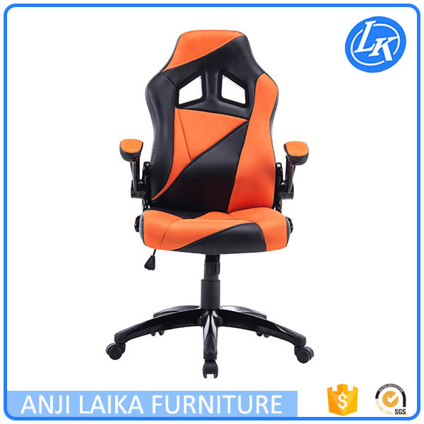 Modern racing office computer chair with leather headrest