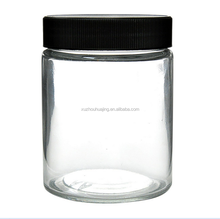 High quality 1oz 2 oz 3oz Clear Glass Straight Sided Squat Jars with Black Plastic Screw Cap wholesale