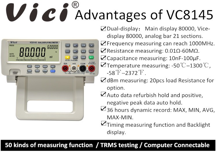 VC8145 80000 counts lcd display digital True RMS desktop multimeter