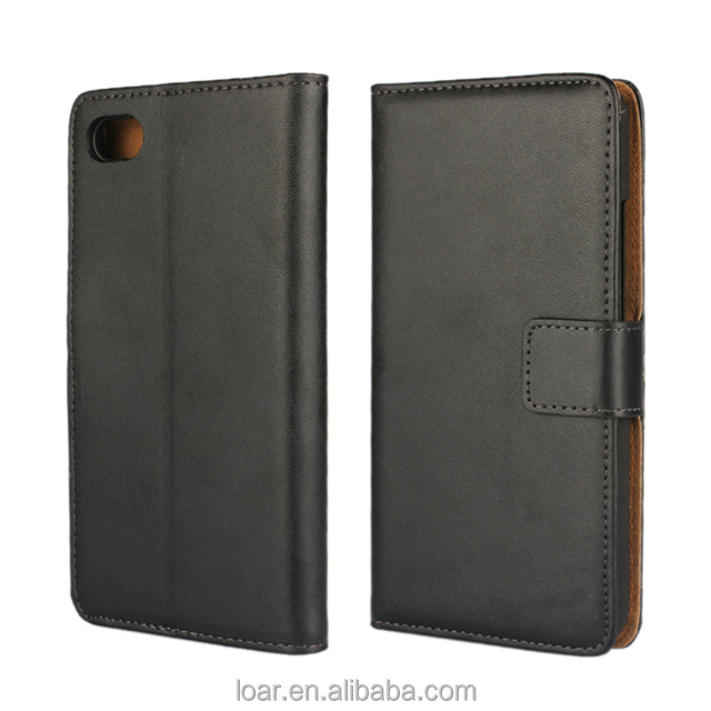 Split Genuine Leather For Blackberry Z30 Mobile Phone Wallet Case Black