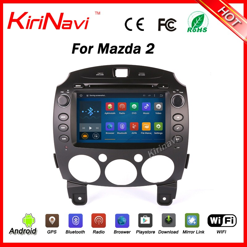 Kirinavi WC-MZ8002 android 5.1 car navigation gps for mazda 2 car dvd player multimedia system wifi 3g bt car stereo
