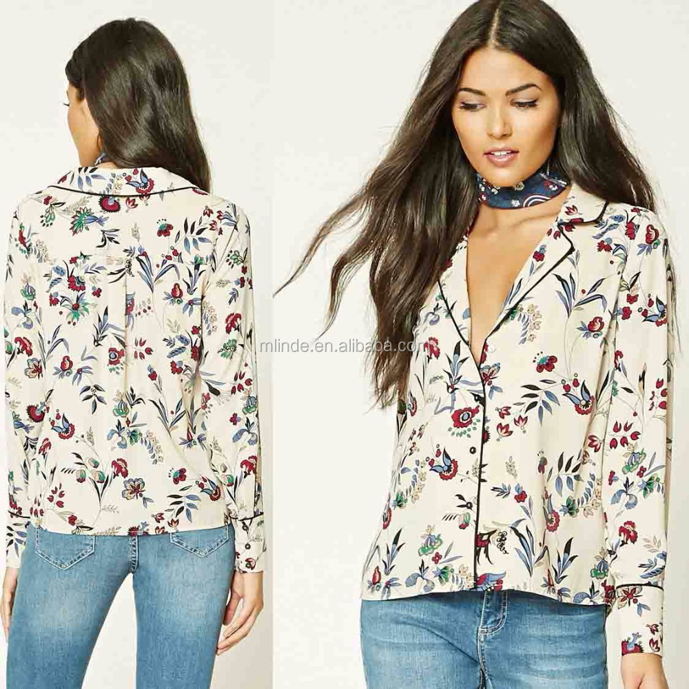 Wholesale Custom Contemporary Floral Print Shirt for Women Long Sleeve Digital Print Cricket Shirt Made in China