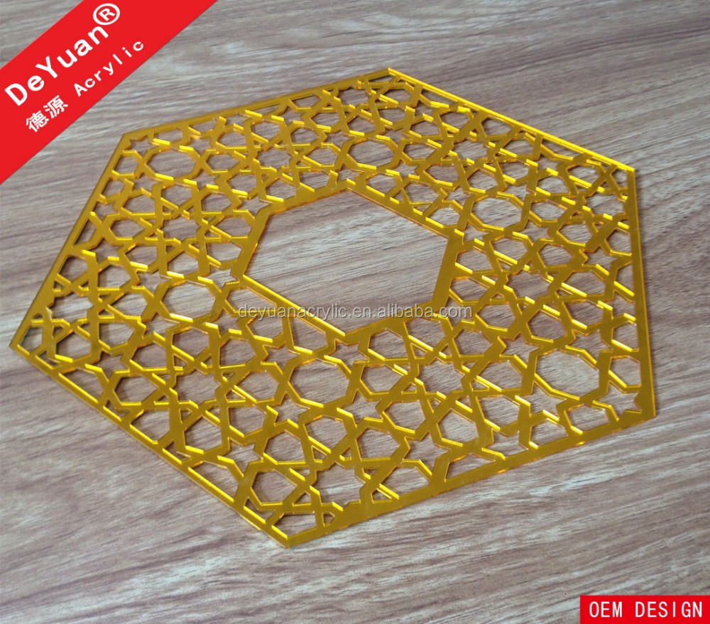 Laser Cutting Golden Acrylic Mirror Sticker