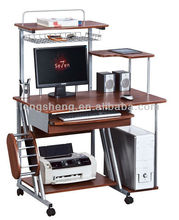 Movable desktop computer table with wheels