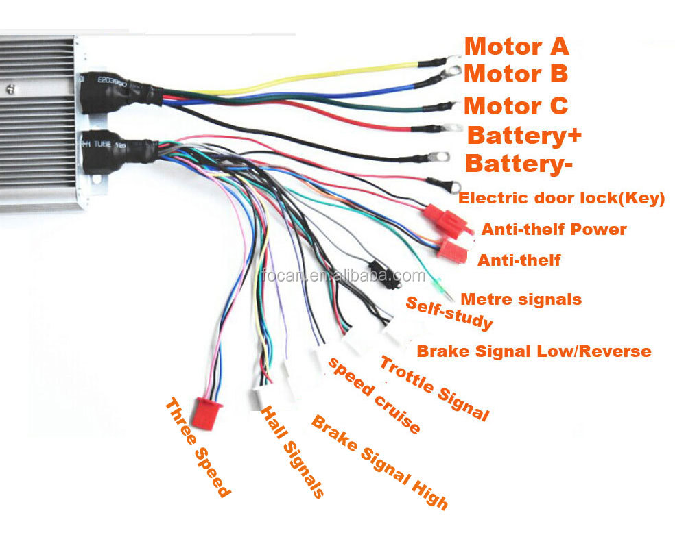 Best 36v  48v  60v  72v 2000w 18 Intelligent Electric Bicycle Brushless Dc Motor Speed Controller