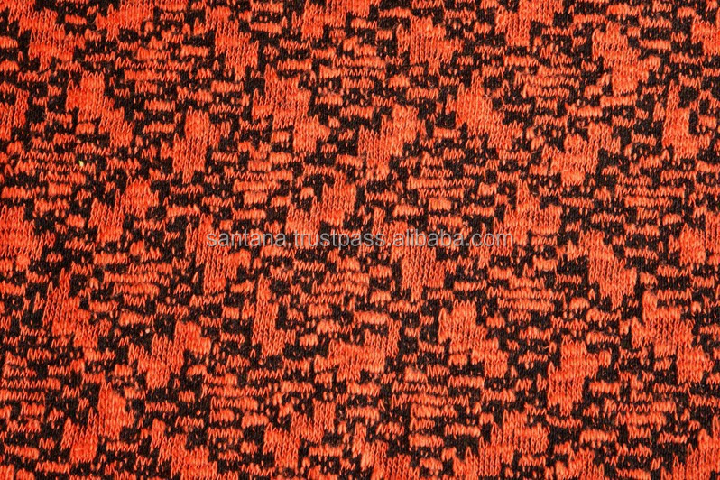 Black and Red Pattern Jacquard Fabric