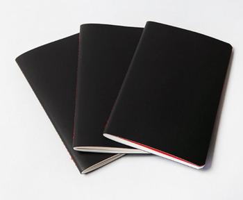 Manufacturer Black Paper A5 Mini Journal Script Sew Stitch Bound Notebook With Blank Red Pages