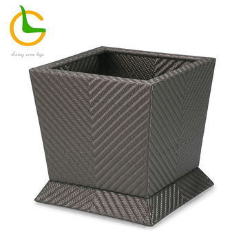 High quality square rattan flower planter