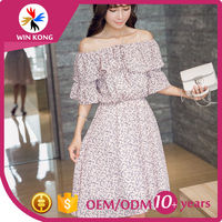 Korean style ladies western dress designs, Chiffon comfortable long dress for summer