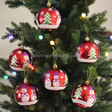 Wholesale Fashion hand painted christmas snow ball ornaments /Plastic christmas tree ball ornaments