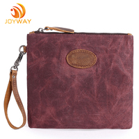 Durable Waterproof Canvas Coin Bags Men's Clutch Bag with leather strap
