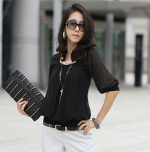 New Korea Style Women O Neck Half Sleeve OL Chiffon Blouse Base Blouse