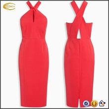 Ecoach Wholesale OEM Elegant Women Sleeveless Twist Neck Bodycon Free Prom Party Evening Dress