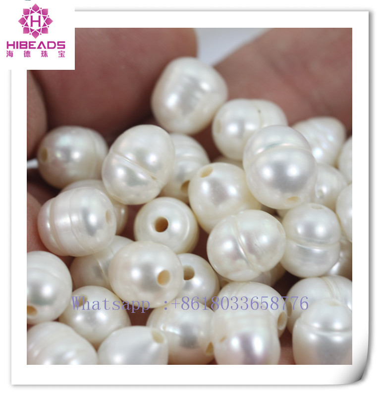 2016 wholesale white large hole loose freshwater pearls 10-11mm with 2.3 mm hole red/brown/grey/white/blue color available