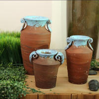 Tall glazed terracotta vase, outdoor rustic flower pot