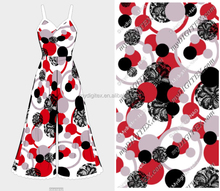 Popular circle dot custom design cotton satin digital printing for party dress and pants